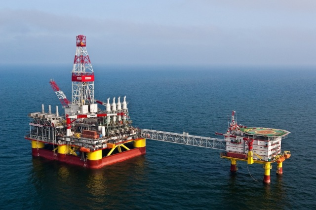 LUKOIL's offshore platform in the Yuri Korchagin oil and gas field