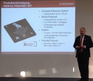 Voelker Goller of Innovasic shows new Ethernet switch with Profinet IRT (Pic: @AllThingsPROFI, twitter)